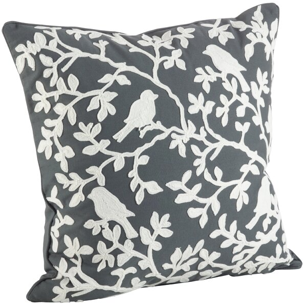 Eden Bird Branch Embroidered 100% Cotton Throw Pillow by Saro